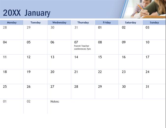 Academic Calendar with photos