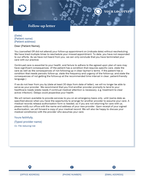Follow-up letter healthcare