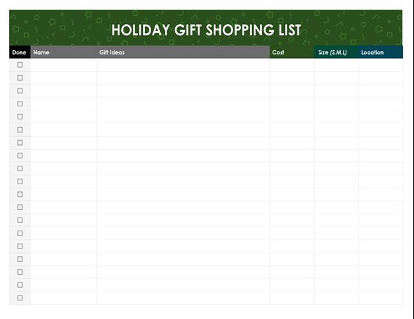 Christmas presents shopping list