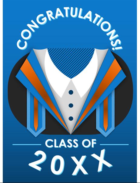 Modern gown graduation card