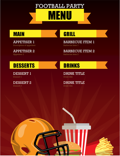 Football party menu