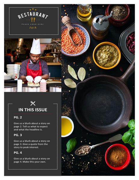 Restaurant newsletter