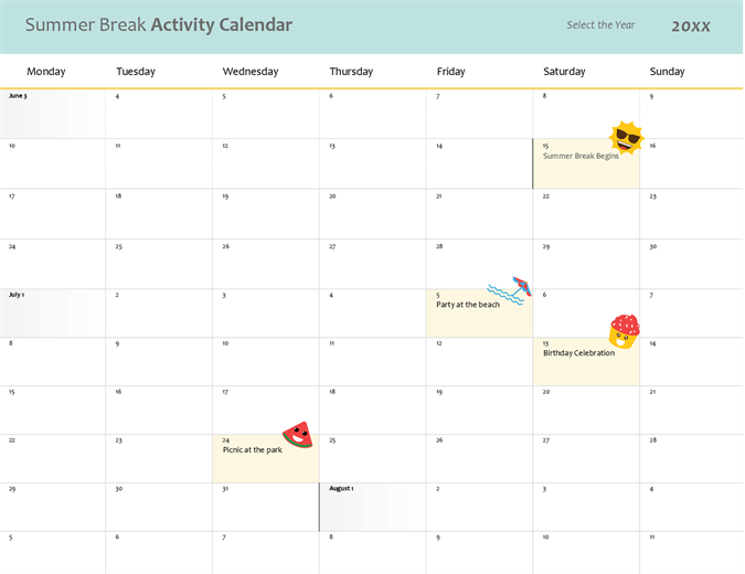 Summer break calendar