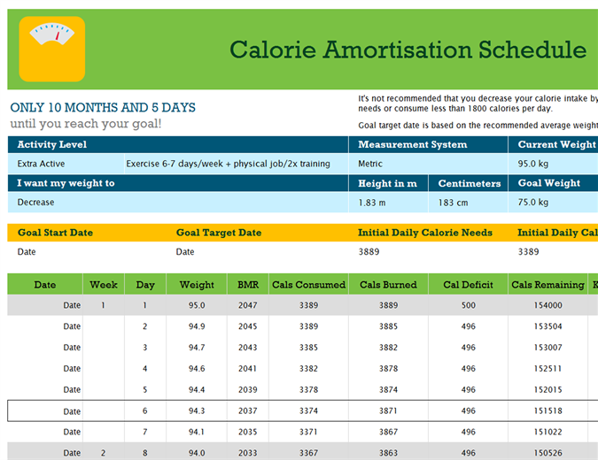 Calorie amortisation schedule