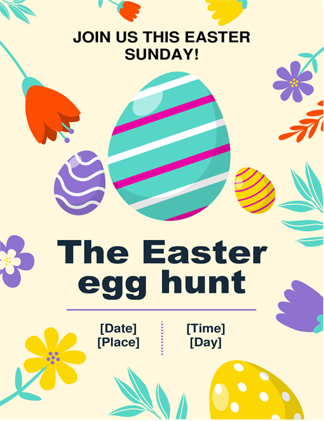 Spring colours Easter egg hunt flyer