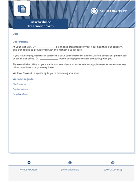 Unscheduled treatment letter healthcare