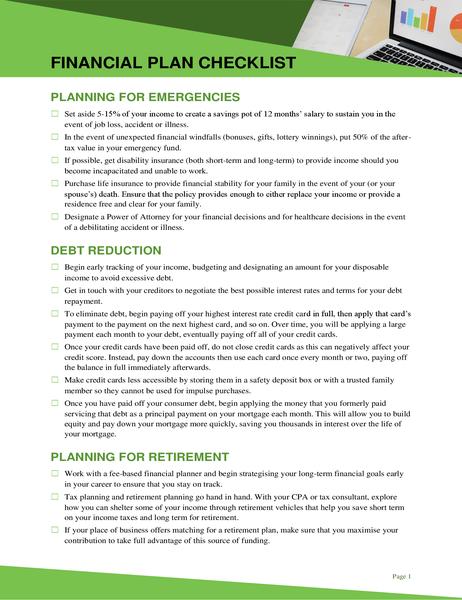 Financial plan checklist
