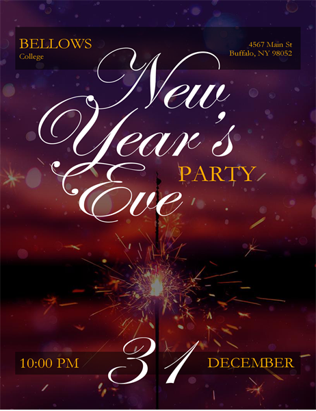 Sparkler New Year's Eve flyer