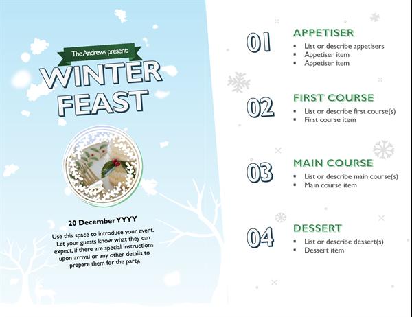 Snowy Christmas photo menu