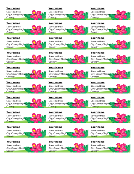 Tropical labels (30 per page)