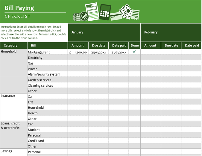 Bill-paying checklist