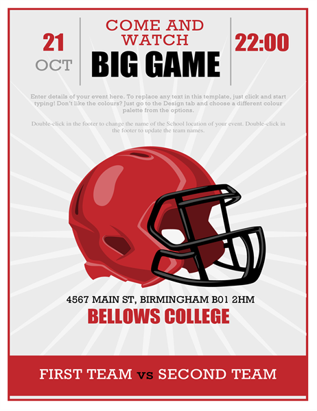 Big game football party flyer