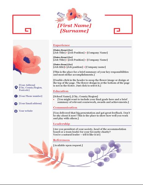 Pink floral CV