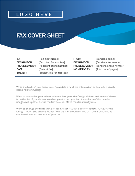 Blue curve fax cover