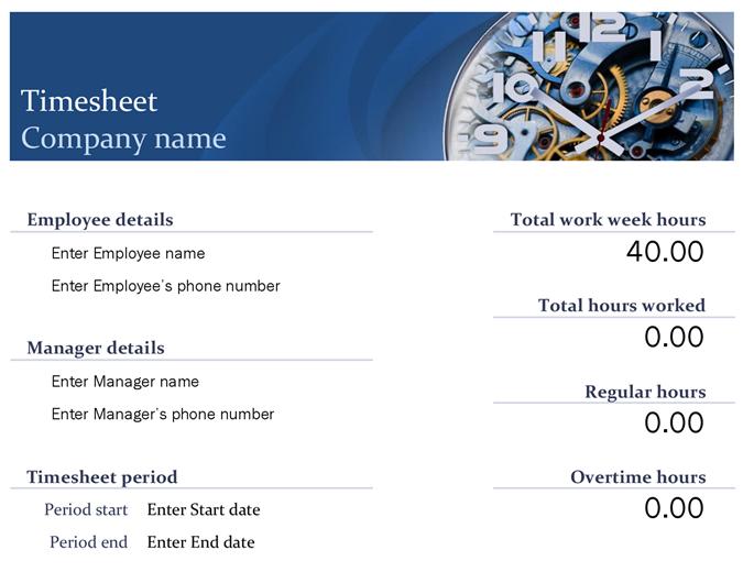 Planilla de horas trabajadas azul