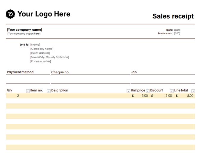 Sales receipt with logo