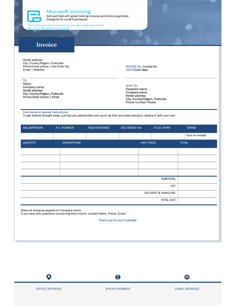 Invoice with Microsoft Invoicing