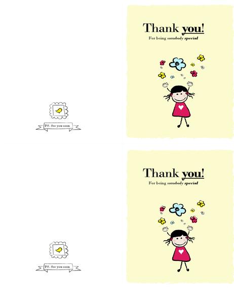 Little girl thank-you card