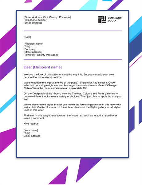 Purple graphic letterhead
