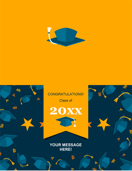 Flying caps graduation card