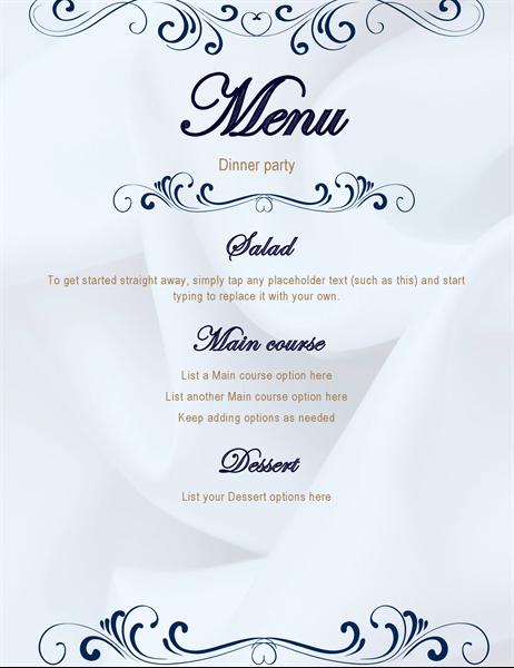 Scroll dinner party menu