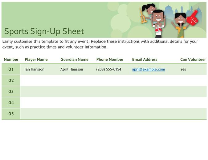 Sports sign-up sheet