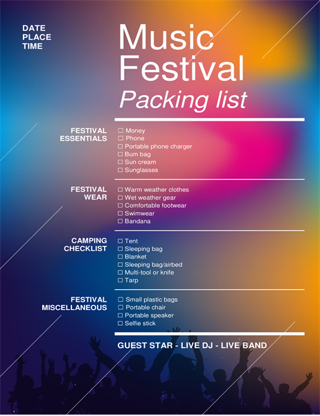 Music festival packing checklist