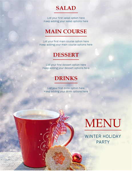 Winter festive party menu