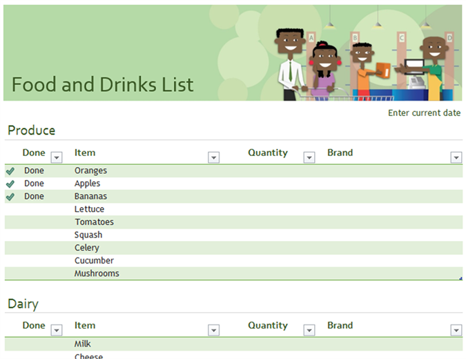 Food and drinks checklist with space for brand