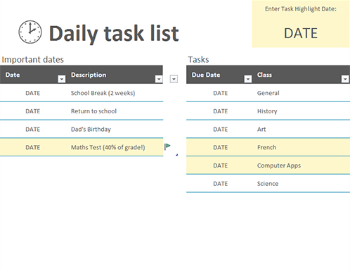 Daily task list - Office Templates