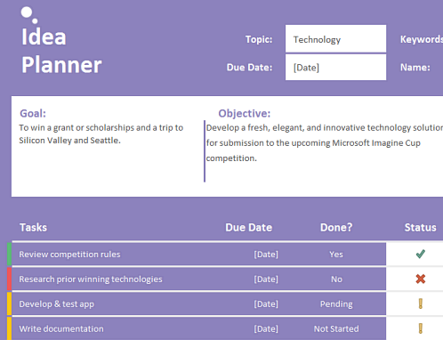 Idea planner (tasks)