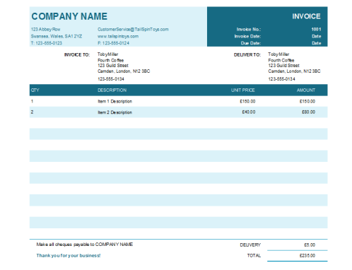 Service Invoice Office Templates - Invoice template for services