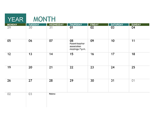 Calendars Office – Sample Academic Calendar