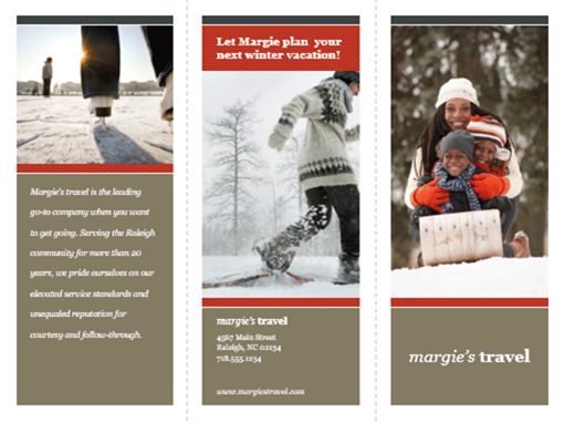 Tri-fold travel brochure (red and gray design)