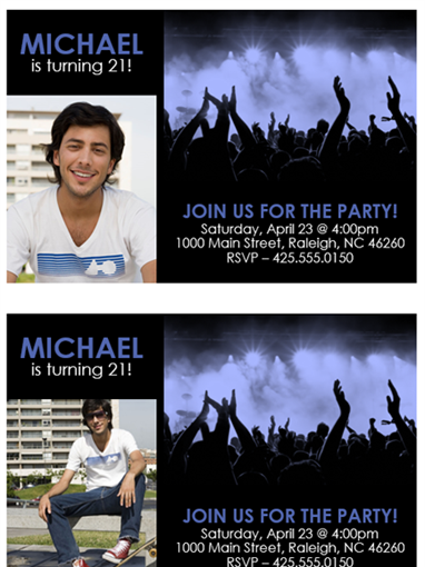 Party invitations (blue on black)