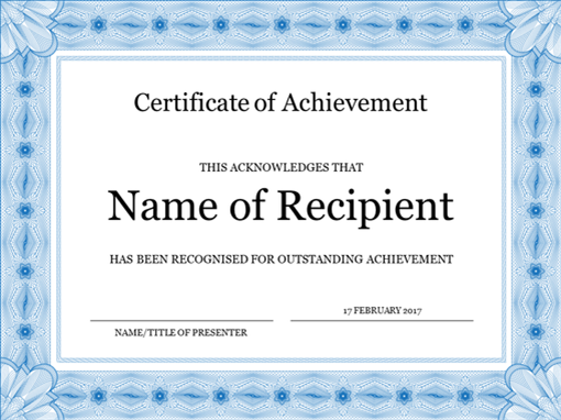 Certificate of achievement blue for Template for a certificate of achievement
