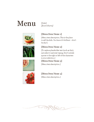 Restaurant menu