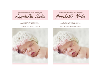 Baby girl birth announcement office templates for Baby birth announcements templates for free