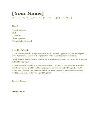 Cv Covering Letter Green