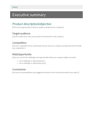 project executive summary template word Executive summary Word