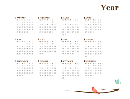 2017 yearly calendar (Mon-Sun)