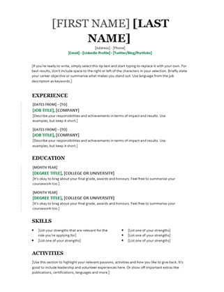Chronological CV (Modern Design)  References Template For Resume