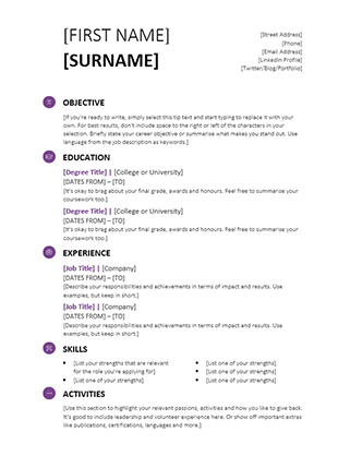 student cv modern design - Reference Templates For Resumes