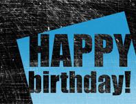 Birthday card, scratched background  (black, blue, half-fold)