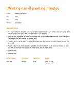 Meeting minutes (Orange design)