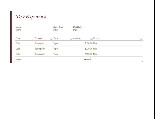 Tax expense journal