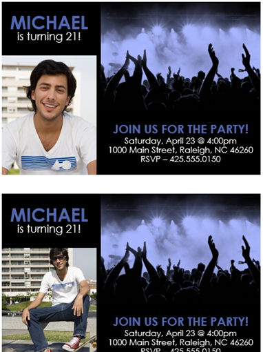 Party invitation (blue on black)