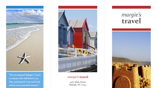 Tri-fold travel brochure (red, gold, blue)