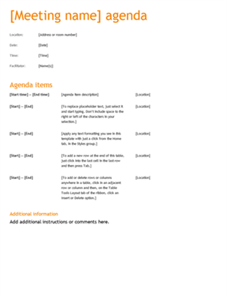 Business meeting agenda (Orange design)