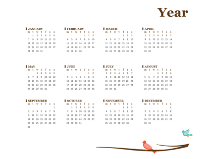 Birds on a branch yearly calendar (Sun-Sat)